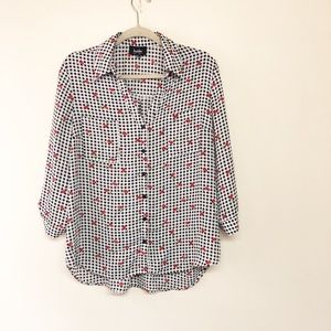 Checkered and cherry blouse aa